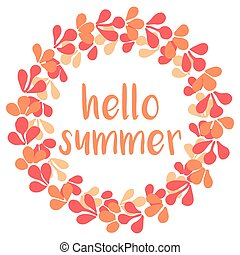 Hello summer wreath vector card