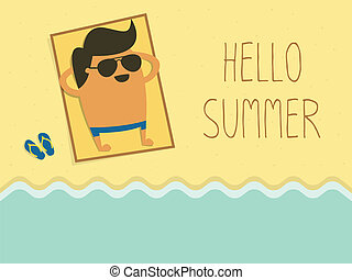Hello Summer - young man sunbathing on a beach