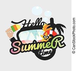 Hello Summertime Badge Design