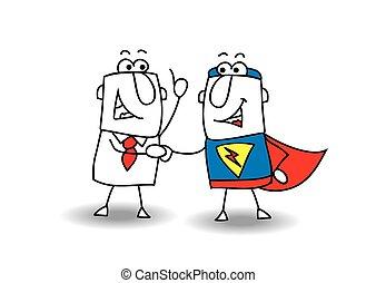 Hello superhero - A businessman and a superhero shaking ...