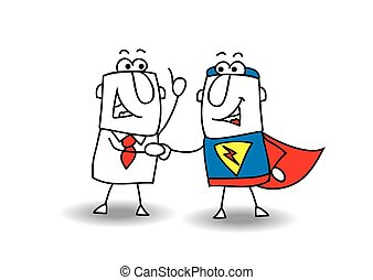 Hello superhero - A businessman and a superhero shaking...