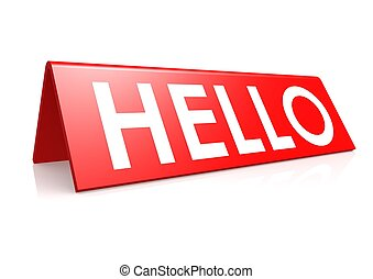 Hello tag in red