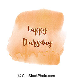 Hello Thursday text on orange watercolor background