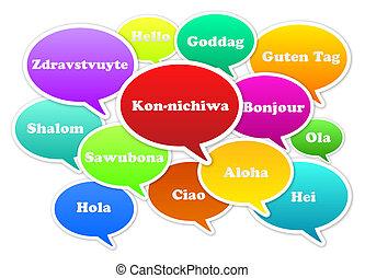 Hello Translation - Illustration Of Hello Bubbles In 13 ...