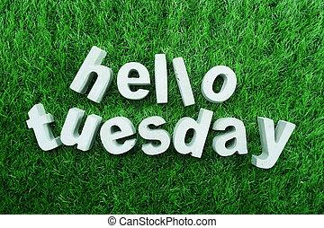Hello Tuesday made from concrete alphabet