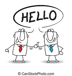Hello - Two businessmen say hello. They will do a deal !
