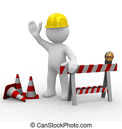 Hello, under construction - Huppy worker welcomes you,under...