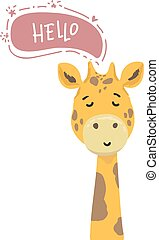 Hello. Vector illustration of cute giraffe. Childish background with smiling cartoon character. hand drawing