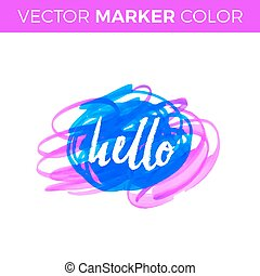 Hello. Vector lettering with hand drawn. Gift cards, birthday, scrapbooking, blogs.