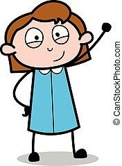 Hello Waving Hand Gesture - Retro Office Girl Employee Cartoon Vector Illustration?