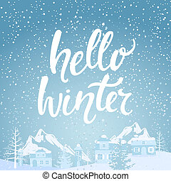 Hello winter banner. - Hello winter banner with lettering. ...
