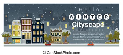 Hello winter cityscape background , vector , illustration