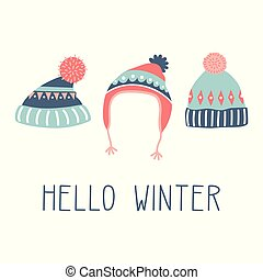 hello winter colorful card - colorful greeting card, print ...