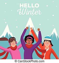 Hello winter concept - Hello winter people cartoons vector ...