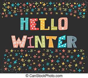 Hello Winter greeting card. Winter concept card. Cute ...