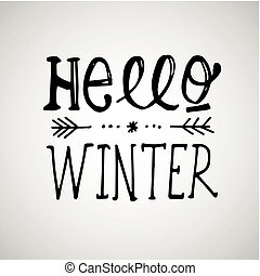Hello winter a phrase lettering winter logos and emblems for hello winter handlettering inscription winter logos and emblems for invitation greeting card t m4hsunfo