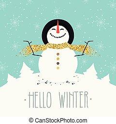 Hello Winter. Happy Snowman with Golden Glitter Scarf.