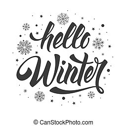 Hello Winter phrase - Hello Winter handwritten calligraphy ...