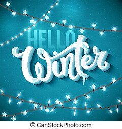Hello Winter poster with realistic fir tree, icicles and ...