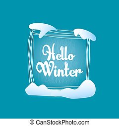 Hello winter quadrate blue greeting card - Text label Hello...