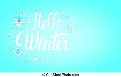 Hello Winter Season Text Banner Abstract Blue Background