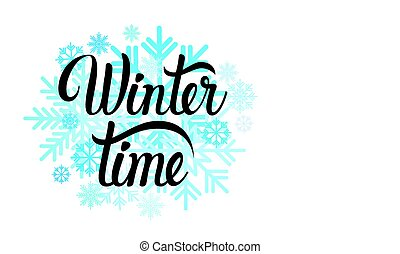 Hello Winter Season Text Banner Abstract White Background