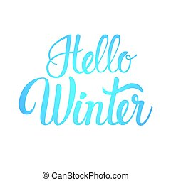 Hello Winter Season Text Banner White Background