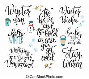 Hello Winter season typography set - Season life style...