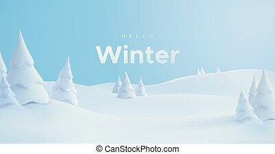 Hello Winter. Snowy landscape - Hello Winter. Vector 3d ...