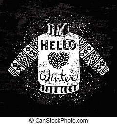 Hello winter text and knitted wool pullover with a heart. ...