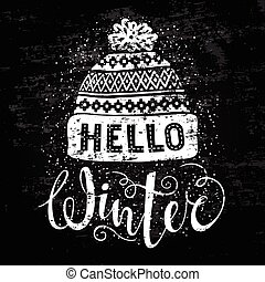 Hello winter text and knitted woolen cap. Seasonal shopping...