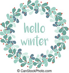 Hello winter vector card