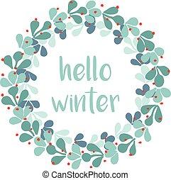 Hello winter vector card