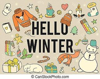 Hello winter. - Vector doodle winter symbols.