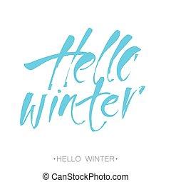 Hello winter. Winter season card, banner design template ...