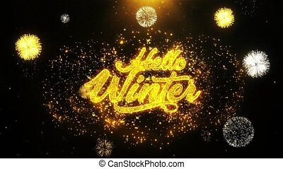 Hello Winter Wishes Greetings card, Invitation, Celebration Firework Looped