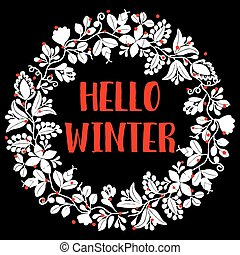 Hello winter wreath vector card