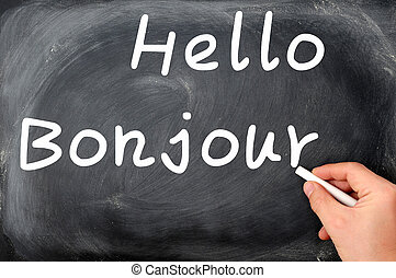 Hello with French Bonjour