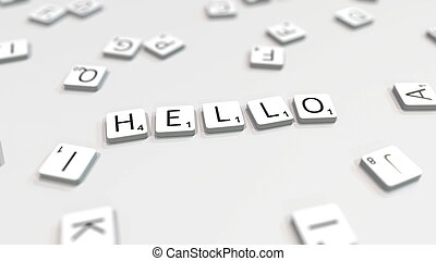 HELLO word being made with letters. 3D rendering