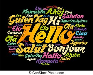 Hello word cloud in different languages