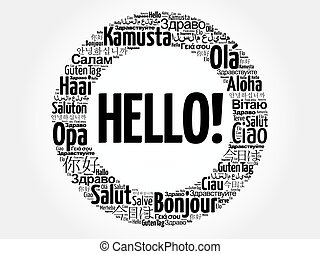 Hello word cloud in different languages of the world
