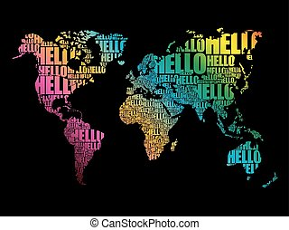 HELLO Word Cloud World Map