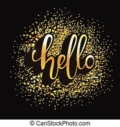 Hello word lettering for banner. Vector illustration.