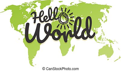 Hello world. World map with the logo