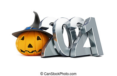 Helloween 2021  on a white background 3D illustration, 3D rendering
