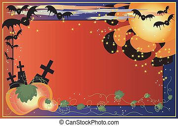 Helloween bacground with pumpkins and bats.