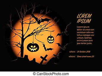 Helloween card template with pumpkins, bats and big moon