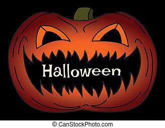 Helloween card with creepy pumpkin
