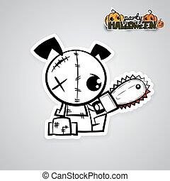 Helloween evil dog voodoo doll pop art comic