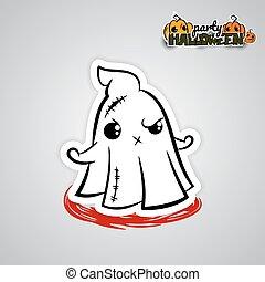 Helloween evil ghost voodoo doll pop art comic